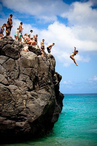 Waimea rock jumping